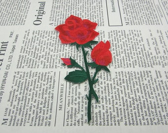 Fabric Rose Embroidered Applique Iron On Patch