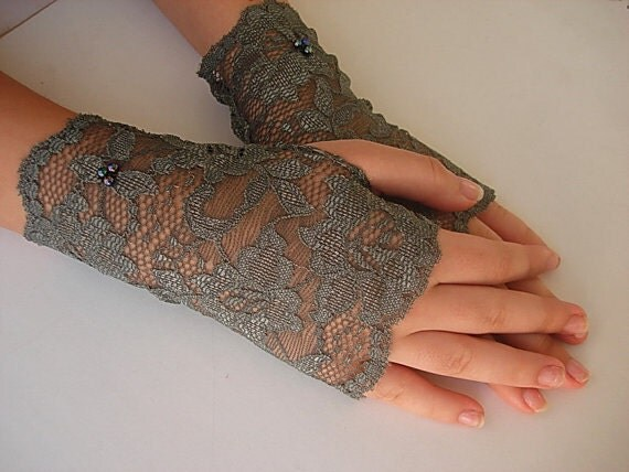 Grey lace gloves fingerless gloves lace armwarmers wrist cuffs