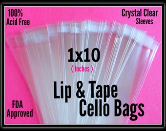 100  1x10  Lip & Tape Cello Bags ..  Clear Bags, Self Sealing, Cello Bags, Adhesive Cello Bags, 1x10 Candy Bags