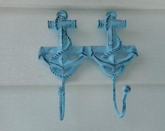 Cast iron dual anchor hooks / beach decor / nautical decor