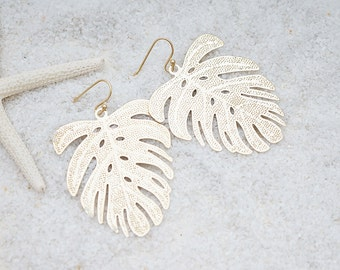 Tropical Leaf Filigree, Bohemian Chic Earrings, Modern Everyday Jewelry, Simple, Gift For Her, Earrings