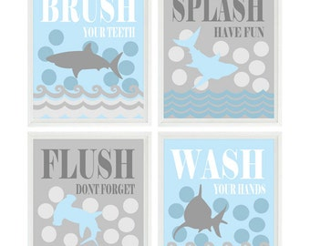 Shark Bathroom Wall Art, Kids Bathroom, Wash, Flush, Brush, Splash, Light Blue, Gray, Shark Bathroom Theme, Shark Art, Boy Bathroom