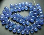 7 Inch Strand,Super Finest,Super Rare,Natural TANZANITE Smooth Drops,6-8mm size,