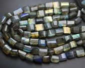 10 Inch, Super Blue Flash Labradorite Faceted Step Cut Nuggets 10-12mm Size