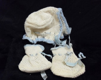 Blue & White Baby's Bonnet and Booties
