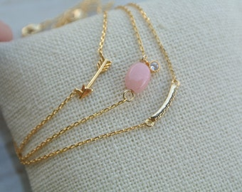 Dainty  Mini Gold Charm Anklets, arrow, bar, oval bead