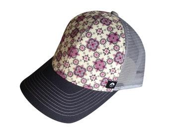 Baseball hat, trucker hat, trucker cap, patterned baseball cap, pink hat
