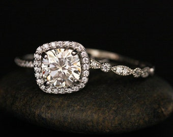White Gold Engagement Ring with Brilliant Moissanite Cushion 8mm and Diamond Wedding Band Set