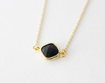 Gold framed crystal necklace - Black crystal necklace