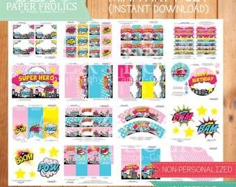 Pink Super Hero Party Set, Digital, DIY, Printable