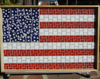 Large Mosaic American flag with Polish pottery