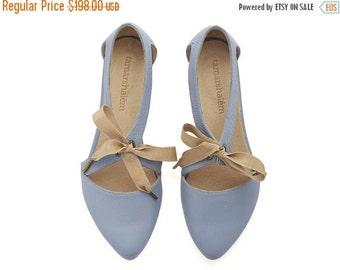 SUMMER FINAL SALE Chelsy pastle blue leather sandalas/ handmade leather  flats by Tamar Shalem