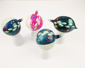 Four Ornaments - Flocked and Hand-painted - Mercury Glass Ornaments - Vintage 1950s - Sections of Flocked and Hand-painted Decorations - 28