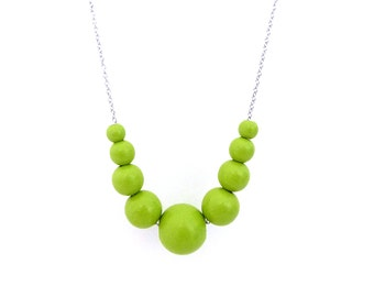 Lime green necklace, wood bead necklace, beaded necklace, mom necklace, spring jewelry, graduated necklace, gift for her, chartreuse