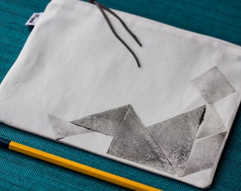 Tangram gadget bag, school supplies zip pouch white cotton