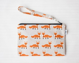 Fox wristlet, clutch bag, zipper pouch wrist strap, clutch pouch