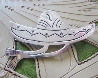 Vintage Mexican  Sombrero Sterling Silver 925 Pin