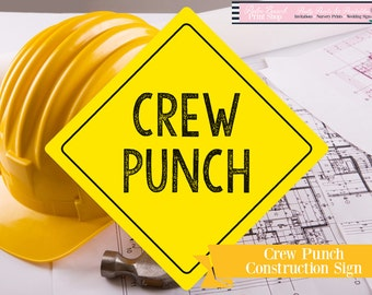 Printable Crew Punch Yellow Yield Sign - Construction Party Printable - Yellow Crew Punch Printable Yield Sign - Instant Download