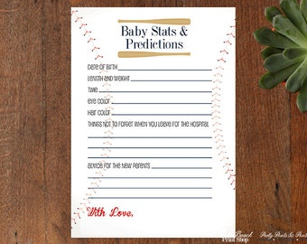 Personalized Baseball Baby Shower Printable Game  - Custom Baseball Printable - Baseball Wall Art - Personalized Baseball Prints