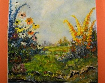 Vintage Spring Flowers Oil Painting