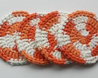 Crochet Coasters - Set of 4 - Creamsicle