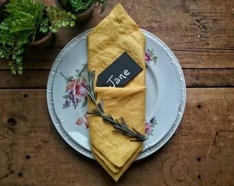 Mustard Linen Dinner Napkins Set of four