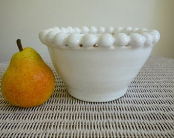 White Bubble Pottery Serving Bowl, Wheel Thrown and Embellished
