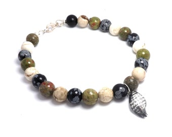 Semi Precious Gemstone Bracelet with Fine Silver Sea Shell Charm