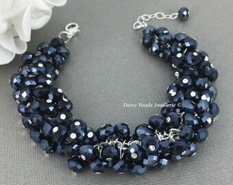Black Crystal Bracelet, Cluster Bracelet, Bridesmaids Bracelet, Chunky Bracelet, Bridesmaid Jewelry, Black Crystal Cluster Bracelet