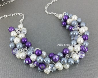 Purple Gray Ivory Cluster Pearl Necklace, Pearl Necklace, Bridesmaid Gift, Bridal Jewelry, Lavender and Gray Necklace