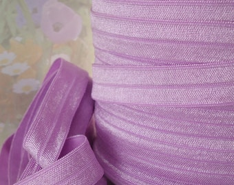 5yds Elastic Ribbon Stretch Fold Over Lilac HeadBands Ponytail 5/8 inch 15mm FOE Light Purple Elastic by the yard