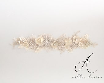 Handmade Ivory and Champagne Beaded Bridal Sash with Floral Detail