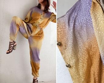 Vintage 80s  disco Jumpsuit / purple yellow  ombre effect harem  Pant  jumsuit / long sleeve silky buttoned disco  party jumpsuit romper/ S
