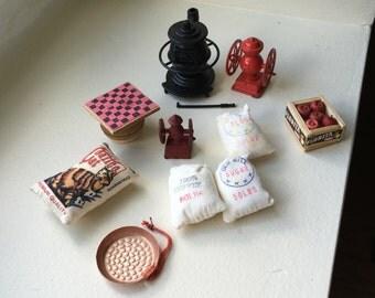 "Dollhouse Miniature Vintage General Store Items 1"" scale.  (BP)"