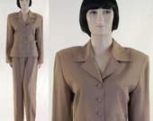 Vintage 1980s Women's Tan 2-Piece Suit / NOS / Jacket & Slacks / Compagnie Internationale EXPRESS / Size 12