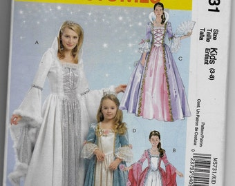 M5731 McCall's Princess Costume Sewing Pattern Sizes 3-8 Renaissance Dress