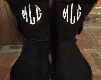 Personalized Toddler Girls Boots Monogram Black and Tan Christmas Gift Size 8, 9, 10, 11, 12, 13, 1, 2, 3, 4 and 5