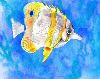 Coral Fish, Copper-band Butterflyfish, 10 X 8 in, original watercolor painting, children art illustration one of a kind colorful fish art