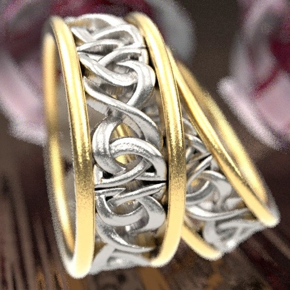 Gold Bi-Color Wedding His and Hers Wedding Ring Set With Celtic Woven Dara Knotwork Design in 10K 14K 18K Gold, Made in Your Size CR-5008