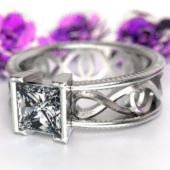 Celtic Moissanite Princess Cut With Infinity Symbol Design in Sterling Silver, Made in Your Size CR-1028