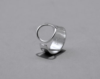 Sterling Silver Tapered O Ring, silver, ring, sterling, contemporary, handmade, forged