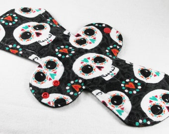 "Reusable Cloth Pad - 13"" (33cm) Overnight/Postpartum - Happy Sugar Skulls Flannel"
