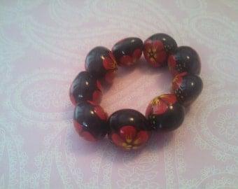 Black and Red Flower Bracelet