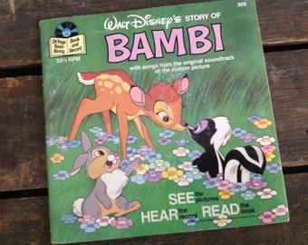 1977 Walt Disney Story BAMBI book and record ~ Walt Disney book ~ Bambi