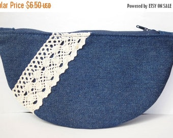 ON SALE Denim Make up Pouch Bag for Women Small Purse Denim Clutch Make up Bag Clutch Purse Cosmetic Bag Cosmetic Pouch Denim Clutch Linen L