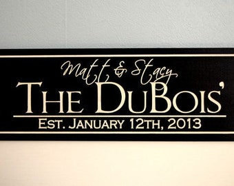 Engagement Gift, Engraved Name Sign, Couples Gift, Just Married, Personalized Wedding Gift, Established Sign, Wedding Present