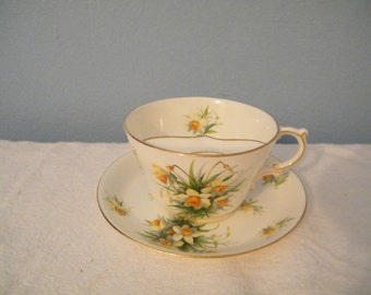 Rare Hammersley Daffodils Mustache Cup  and Saucer Set