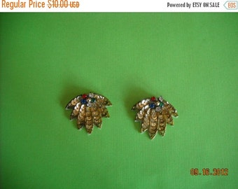 sale vintage  beaded rhinestone clips    62