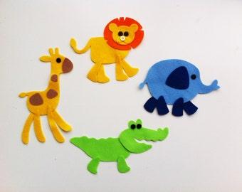 4 DIY/make your own felt jungle animals. Sewing projects, applique, felt die cuts, felt safari animals, felt elephant, baby mobile ornament