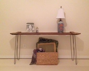 Console table reclaimed fence board with hairpin legs